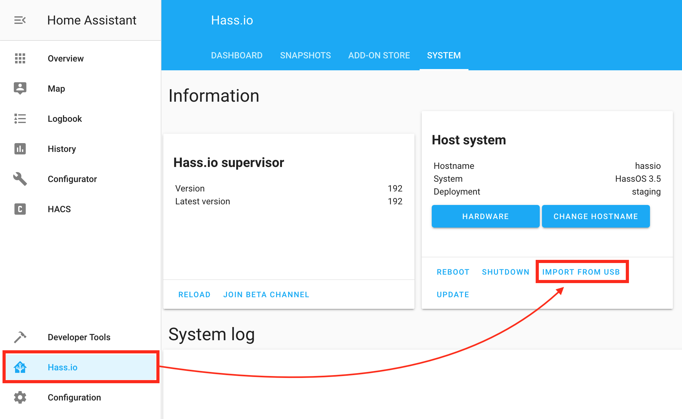 Hass.io screenshot showing how to import WiFi configuration