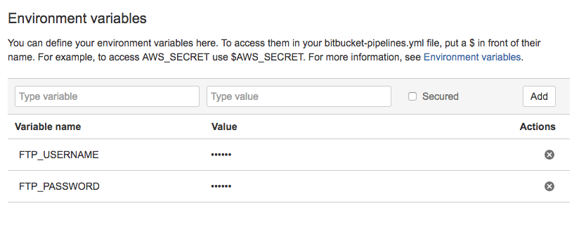 My environment variables for FTP deployment with BitBucket Pipelines