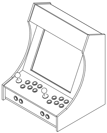 Sketch of the mini arcade cabinet